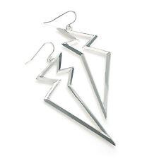 Silver Colour Flash Bolt Ladies Fashion Jewellery Drop Earrings