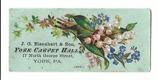 Old Trade Card York Carpet Hall Eisenhart York PA Oil Cloths Looking Glasses