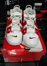 2016 Nike Air More Uptempo White-Gym Red 414962-100 Size 12 Chicago Bulls Pippen