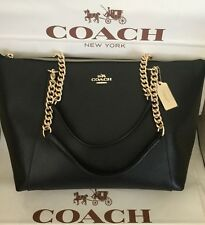COACH CROSSGRAIN LEATHER AVA CHAIN TOTE BLACK F37201 NWT MSRP $395
