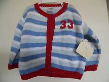 Victoria Kids Racing Bear  Cardigan Button Sweater, Sz 4