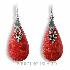 Edle Ohrringe Hänger Silber Schmuck Rote Koralle Silver Earrings Coral SER220