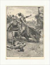 Besiegt Ritter Rüstung Reiter Pferde Lanze Kampf Helm Schlacht Holzstich E 4856