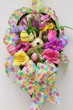 RAZ BUNNY RABBIT SISAL~HANGING BASKET~EASTER SPRING~DOOR WALL~ WREATH