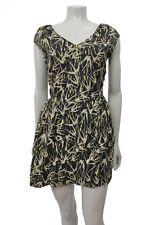 Myne ashley ann NWT Black beige gold flying Bird print silk Mini dress Size 2
