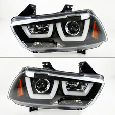Dodge Charger 2011-2014 Black Projector LED Light Bar DRL Headlights Pair