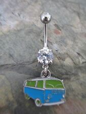 US Shipper-Enameled Lime & Turquoise VW Volkswagen Bus Dangle Belly Navel Ring