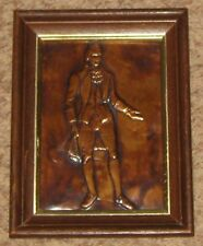 """Etched Engraved Hammered Copper 7 X 9"""" Victorian Man Art Picture"""