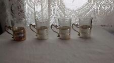 UNIQUE~ Italy Silver & Glass 4 Espresso Cups Sea Serpent Handle & Shell Stickers