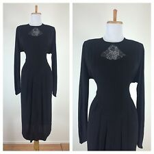 Vintage 1940s Black Rayon Dress Peek a Boo Lace Bodice Pointed Sleeves Cocktail