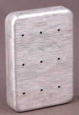 Vtg Fly Hook Box/Container-Rerrine #66-w/ 10 Flies-Fishing-Hinged-Brushed Metal.