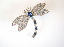 GORGEOUS SILVER PLATED GENUINE SWAROVSKI CRYSTAL DRAGONFLY BROOCH