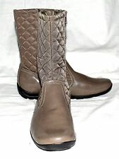 Naturalizer FINN Taupe Faux Patent Leather & Quilted Fabric Boots Sz 6M NWOB