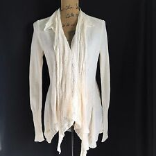 Angel of the North sz Medium Ivory loose knit open drape pocket cardigan sweater