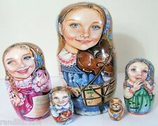 """5pcs One of a Kind Russian Nesting Doll """" Beethoven & The Groundhog"""""""