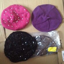 NEW 4 BERETS 2X M&S SEQUIN STYLE AND 1 LUREX  1 SEQUIN D PERKINS