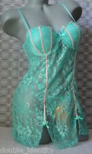 Crossdress Mint Green Padded Underwire Babydoll Chemise Sissy Pouch Panty MED