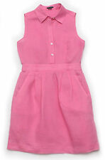 Theory Neith Linen Sleeveless Pleated Shirt Dress Pink sz 0 or xs $275 Sold Out