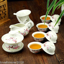 12pcs/lot porcelain tea set kungfu teaware porcelain gaiwan tea bowl tea cups