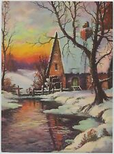 Vintage William Thompson Print Winter Scene titled: Down by the Old Mill Stream