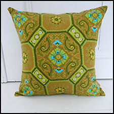 Vintage 60s 70s cushion cover lime green Moroccan tiles Indian cool psychedelic