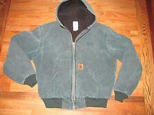 Carhartt Green Fade Sandstone Duck Jacket Hooded Arctic Quilt Lined Men's L CR80
