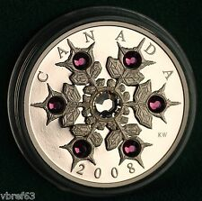 2008 Canada Silver $20 Amethyst Snowflake crystal - mint condition - org. pkg