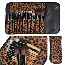 Professional 12PCs Brush Cosmetic Make Up Tool Case Bag Kit Fashion Leopard DS Y