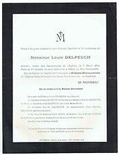 Avis de Décès Louis Delpeuch - Cimetière Père Lachaise - 1934