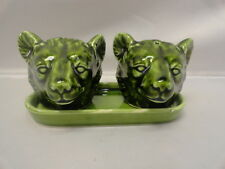Vintage BEAR Head Salt & Pepper Shakers on Tray Shiny JAPAN Arrow Jersey City NJ