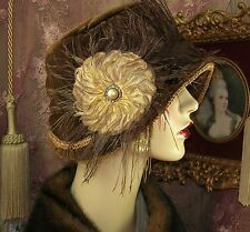 1920S VINTAGE STYLE BROWN VELVET FLOWER FEATHER RHINESTONE CLOCHE FLAPPER HAT