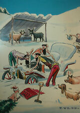 Original Comic illustration Paul Webb Mountain Boys Jalopy Stuck Snow Tot & Tree