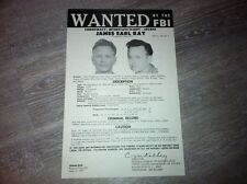 ORIG. 1977 JAMES EARL RAY FBI WANTED POSTER MARTIN LUTHER KING JR. *PLS OFFER*