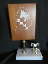 """Vintage Eastern Michigan Horse Association Equestrian Trophy Marble Italy 10"""""""