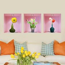 3D Flower Vase Wall Sticker DIY Home Decal Living Room Decoration Mural