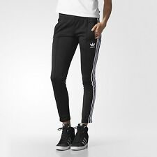 NEW adidas Originals Women's Slim Fit SUPERGIRL TRACK PANTS Black UK10 US:SMALL