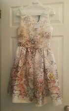 RED VALENTINO MULTICOLORED FAIRYTALE ILLUSTRATION PRINT DRESS IT 40/US 2 or 4