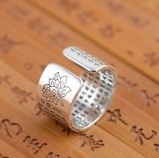 999 Sterling Silver Heart Sutra lover jewelry ring rings adjustable S687