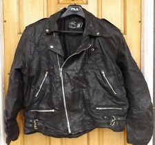 "MEN`S REAL LEATHER VINTAGE BIKER JACKET SIZE XXL 46"" (EU 56) BRANDO PERFECTO"
