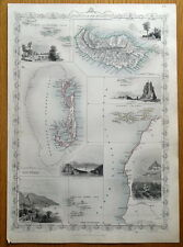 ATLANTIC ISLANDS, BERMUDA, MADEIRA, CANARIES, RAPKIN & TALLIS antique map c1850