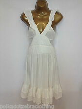 SUPERDRY L UK 12-14 LOTTE VINTAGE THRIFT WHITE SUMMER SUN BEACH DRESS