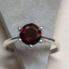 Natural 1ct Fire Garnet 925 Solid Sterling Silver Round Solitaire Ring sz 6.75