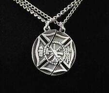 Mizpah Prayer Maltese Cross Necklace Set (Firefighter Christian Jewelry Gift)