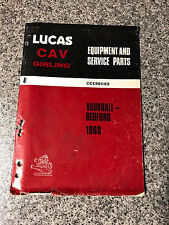 Vauxhall & Bedford (1969) CAV Lucas Equipment Service Parts Catalogue CCE904/69