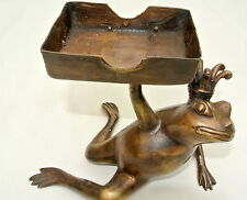 FROG card HOLDER stand statue aged old vintage style heavy sitting brass