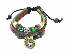 Lucky Chinese Coin Ethnic Leather Bracelet