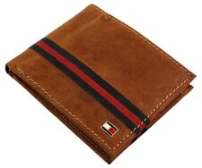 NEW TOMMY HILFIGER MEN'S LEATHER CREDIT CARD WALLET DOUBLE BILLFOLD TAN 5084/04