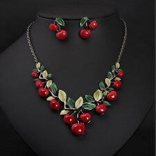 1 Set Fashion Red Cherry Jewelry Set Metal Bridal Necklace Earrings Chic HU