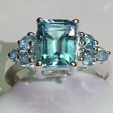Estate Genuine 8ct Emerald Cut Swiss Blue Topaz 925 Solid Sterling Silver Ring 9