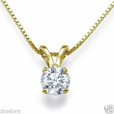 """2.0 ct Round Cut 14K Yellow Gold Solitaire Pendant Necklace + 16"""""""